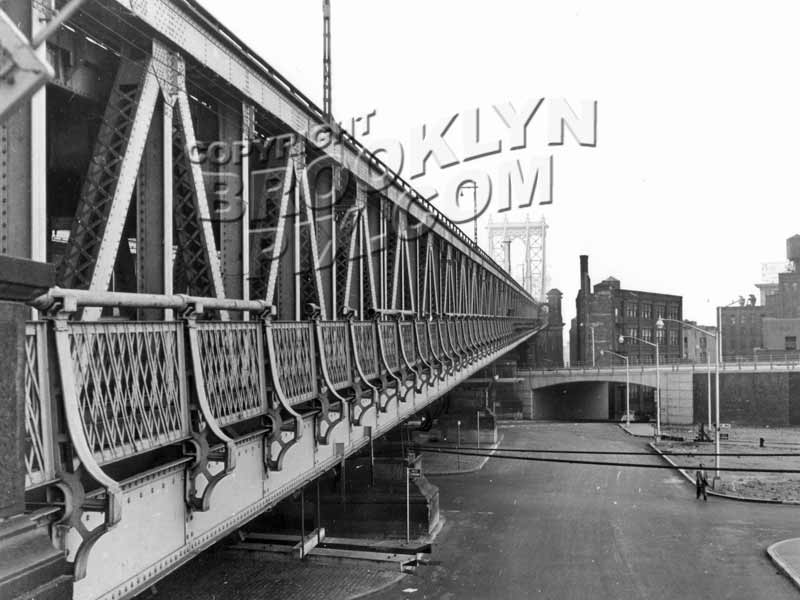 Manhattan Bridge from Brooklyn, new Brooklyn-Queens express in middle ground, 1959 Old Vintage Photos and Images