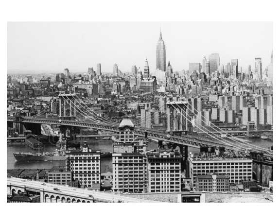 Manhattan Bridge - Manhattan Skyline in the background Empire State Building in sight  New York, NY Old Vintage Photos and Images
