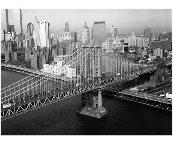 Manhattan Bridge - oblique perspective of Manhattan tower Old Vintage Photos and Images