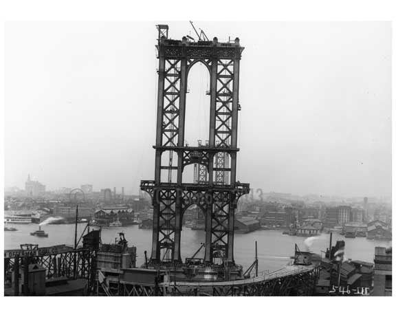 Manhattan Bridge under construction 1908 B