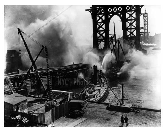 Manhattan Bridge under construction & fireboats underneath it   Brooklyn, NY 1908 Old Vintage Photos and Images