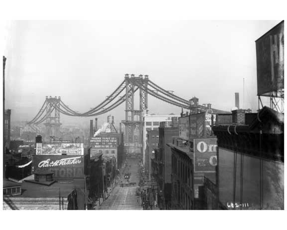 Manhattan Bridge view North west from Washington Street Brooklyn, NY 1908 Old Vintage Photos and Images