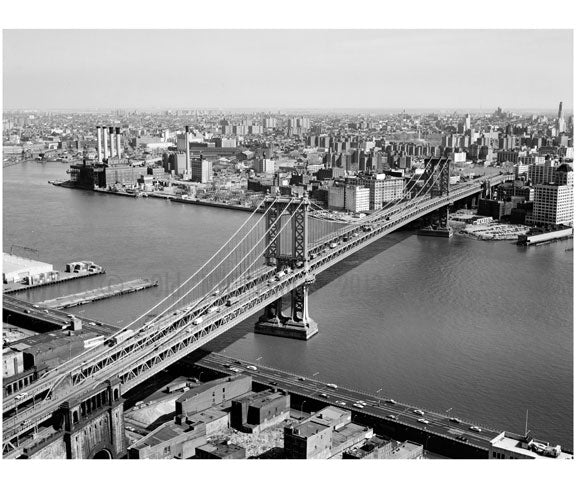 Manhattan Bridge  - view towards Brooklyn with Queens in the background to the left Old Vintage Photos and Images