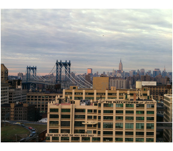 Manhattan skyline from Brooklyn rooftop, with Manhattan Bridge in the Background Old Vintage Photos and Images