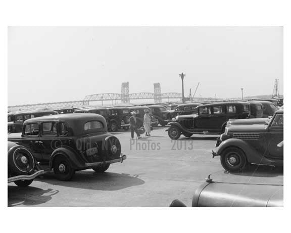 Marine Parkway Bridge -seen from the parking lot of Jacob Riis Park- 1938 Queens, NY Old Vintage Photos and Images