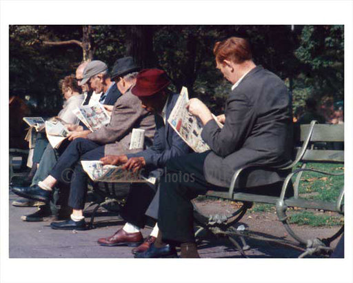 Men line the benches, reading the Sunday paper in Central Park - Manhattan 1965 NYC Old Vintage Photos and Images