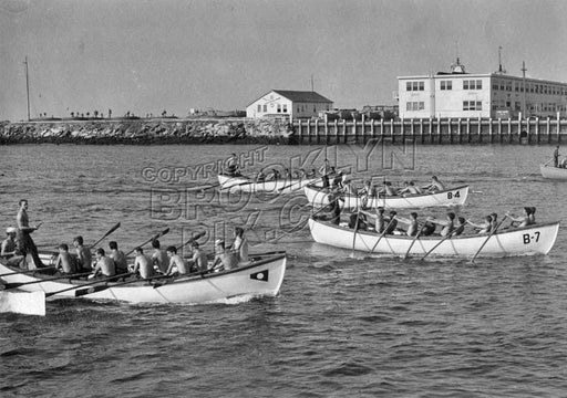 Military scene off Manhattan Beach showing Naval Training Station, WWII Old Vintage Photos and Images