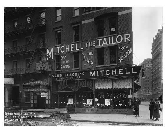 Mitchell the TaIlor - Broadway  street view of shops  - Midtown Manhattan - 1915 Old Vintage Photos and Images