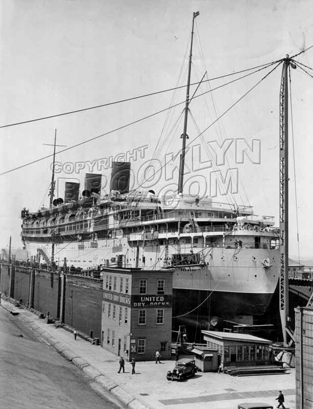 """Monarch of Bermuda"" at United Dry Dock, foot of 27th Street, 1936 Old Vintage Photos and Images"