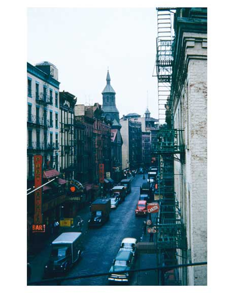 Mott Street from elevated structure 1955 - Little Italy -  New York, NYC Old Vintage Photos and Images
