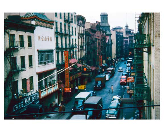 Mott Street from elevated structure 1955 - Little Italy -  New York, NY Old Vintage Photos and Images