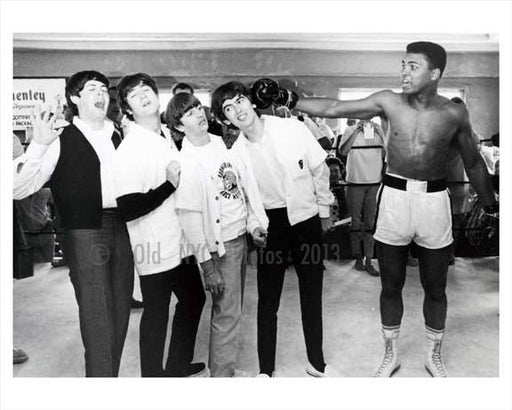 Muhammad Ali knocks out The Beatles early 1960s NYC Old Vintage Photos and Images