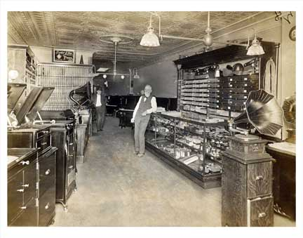 Music & Victrola Shop Old Vintage Photos and Images