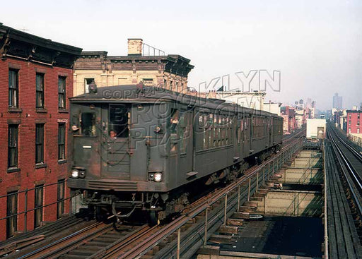 Myrtle Avenue el train in last days of operation, near Grand Avenue, c.1969 Old Vintage Photos and Images