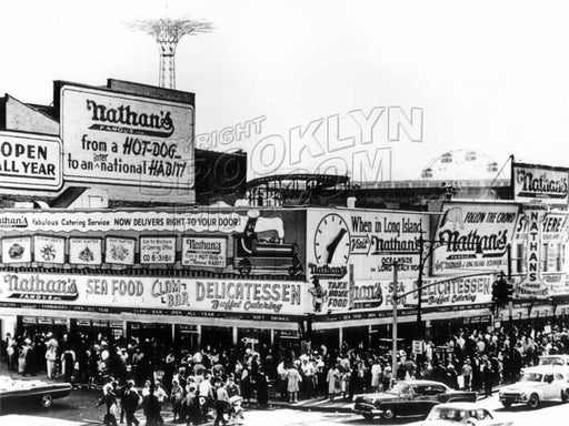 Nathan's Famous, Surf and Stillwell Avenues, c.1964 Old Vintage Photos and Images