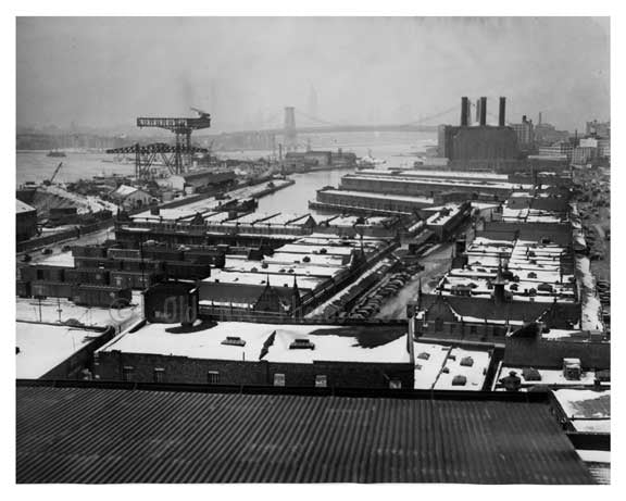 Navy Yard view of the docks, Williamsburg Bridge & some of the New York City Skyline - Brooklyn NY 1941 Old Vintage Photos and Images