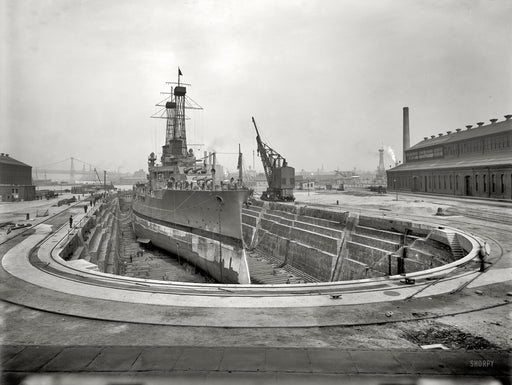 Battle Ship USS North Dakota Dry Docked in Brooklyn Navy Yard - 1910