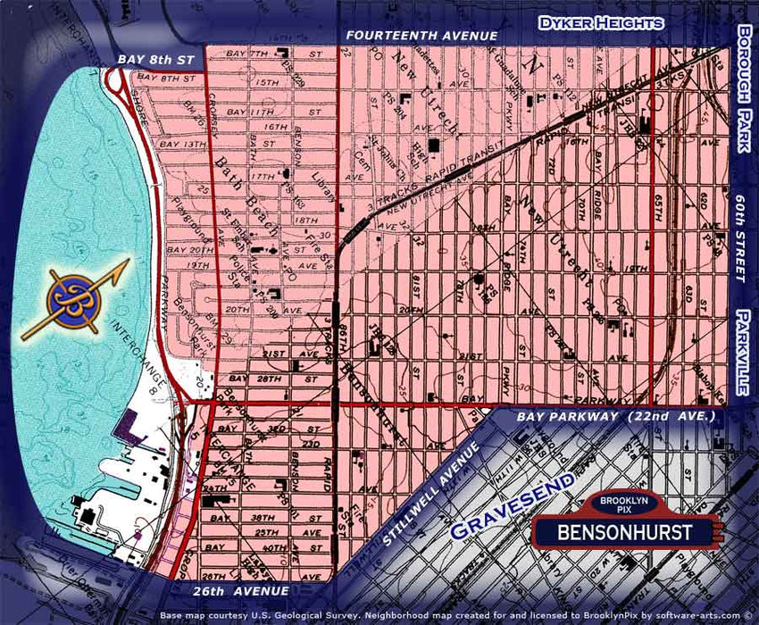 Neighborhood borders map for Bensonhurst, including Bath Beach