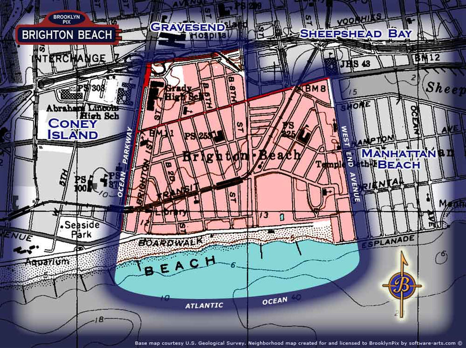 Neighborhood borders map for Brighton Beach Old Vintage Photos and Images