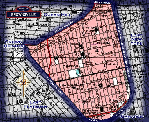 Neighborhood borders map for Brownsville Old Vintage Photos and Images