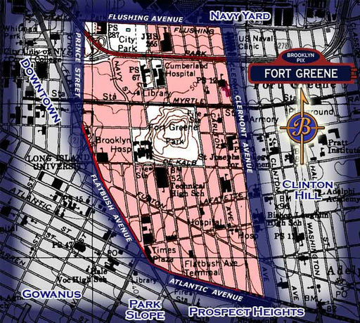 Neighborhood borders map for Fort Greene Old Vintage Photos and Images