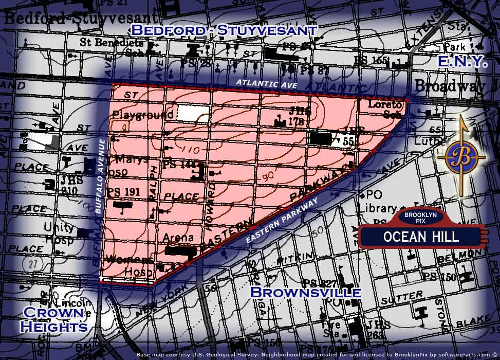 Neighborhood borders map for Ocean Hill Old Vintage Photos and Images