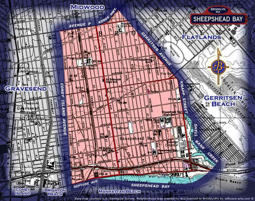 Neighborhood borders map for Sheepshead Bay Old Vintage Photos and Images