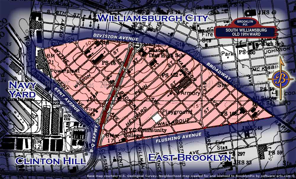 Neighborhood borders map for South WIlliamsburg / Old 19th Ward Old Vintage Photos and Images