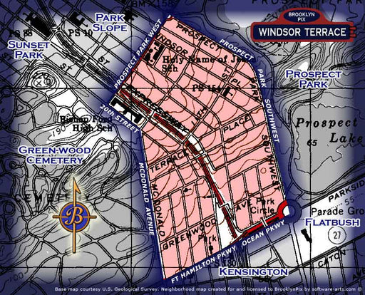 Neighborhood borders map for Windsor Terrace Old Vintage Photos and Images