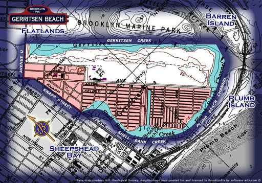 Neighborhood borders map of Gerritsen Beach Old Vintage Photos and Images