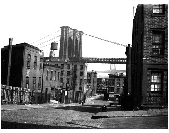 neighborhood with the Brooklyn Bridge in the background Old Vintage Photos and Images