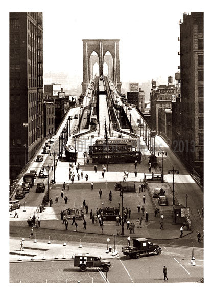 New Brooklyn Bridge Approach from City Hall Park 1945 Old Vintage Photos and Images