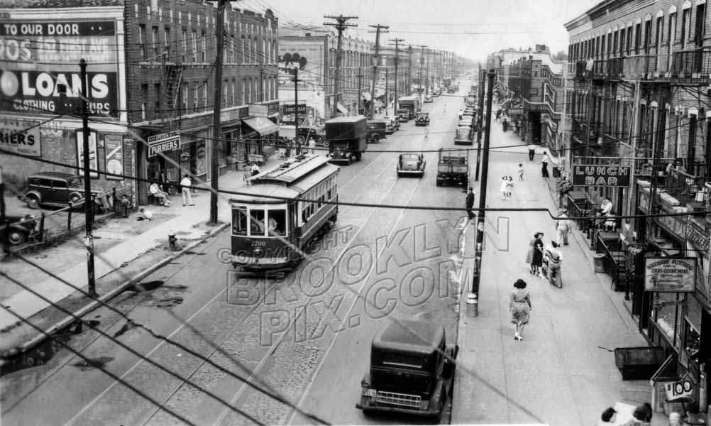 New Lots Avenue looking east from Canarsie elevated station. Photo by Alfred Siebel, 1939 Old Vintage Photos and Images
