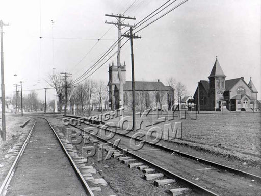 New Utrecht Dutch Reformed Church from 85th Street railroad station, 1900