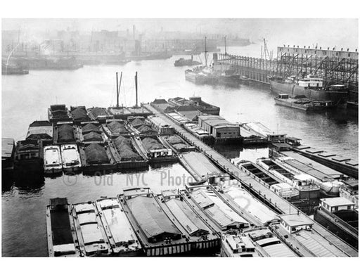 New York Barge Canal, Gowanus  Bay Terminal Pier - view looking southwest, surrounded by barges Old Vintage Photos and Images