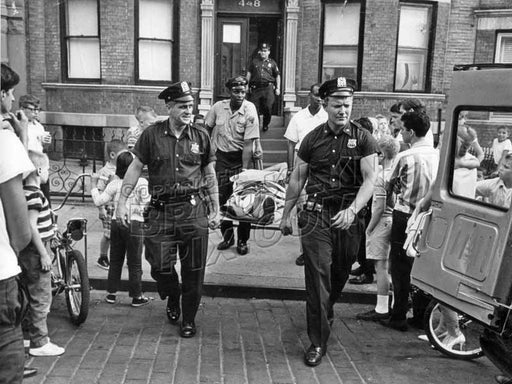 """New York's Finest"" from 68th Precinct assisting injured person, c.1960 Old Vintage Photos and Images"
