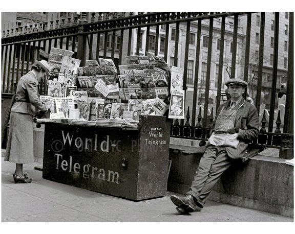 Newsstand on Church Street 1939 - St. Paul's Chapel, Trinity Church Cemetary Old Vintage Photos and Images