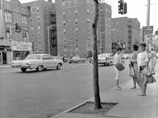 Northbound Ocean Avenue bus stop at Kings Highway, 1961 Old Vintage Photos and Images