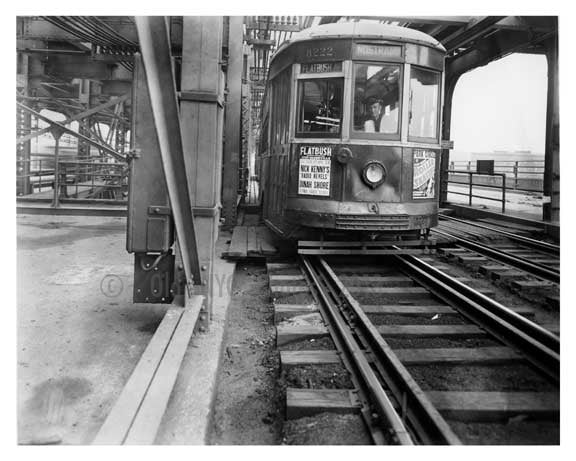 Nostrand Ave Trolley Line on the Williamsburg Bridge  1939 Brooklyn, NY Old Vintage Photos and Images