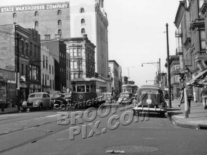 Nostrand Avenue looking north from Madison Street, 1951