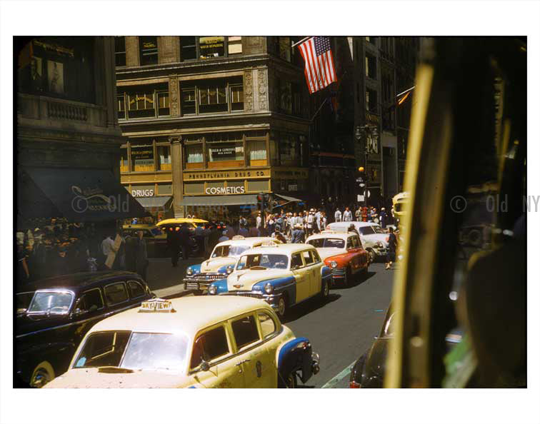 NYC Traffic - Yellow checker cabs Old Vintage Photos and Images
