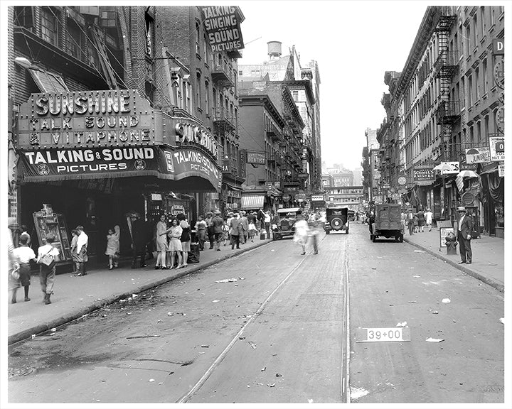 East Houston Street NYC, Sunshine Theater & Schimel's Knishes - 1929