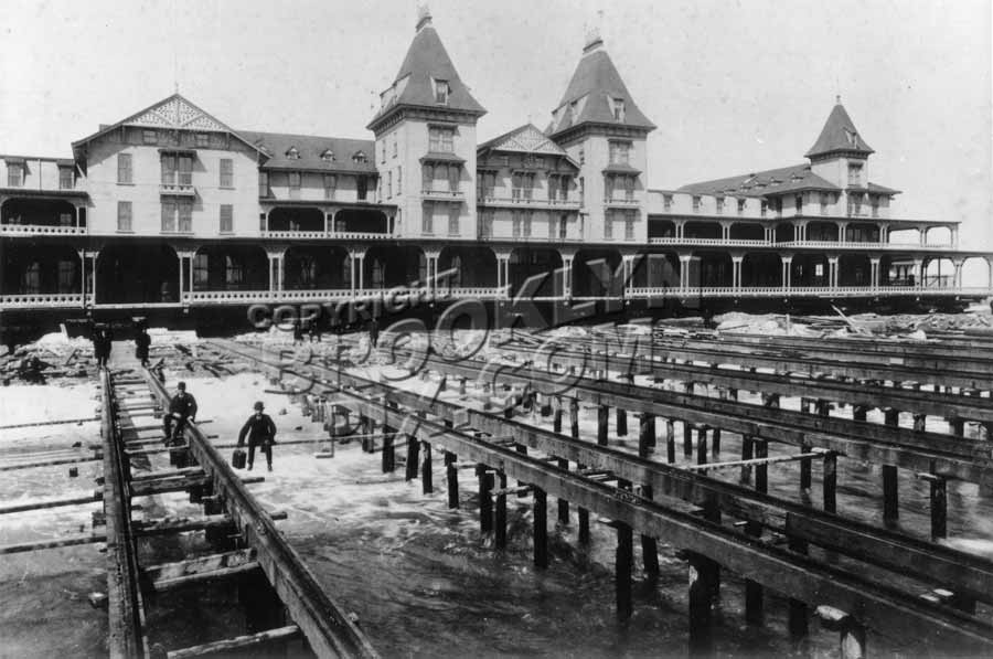 Ocean side view of Brighton Beach Hotel in process of being hauled back from the teeth of the ocean, 1888 Old Vintage Photos and Images