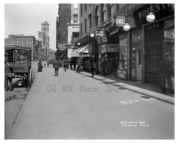 On Broadway looking in the distance at the Times Bldg - Midtown Manhattan - NY 1914 B Old Vintage Photos and Images