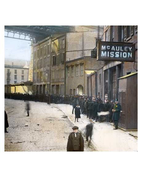Outside the McAuley Mission Bldg.  - Lower East Side in 1900  NYC Old Vintage Photos and Images