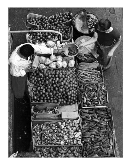 overhead view of a pushcart produce stand on Belmont Avenue, Brooklyn NY Old Vintage Photos and Images