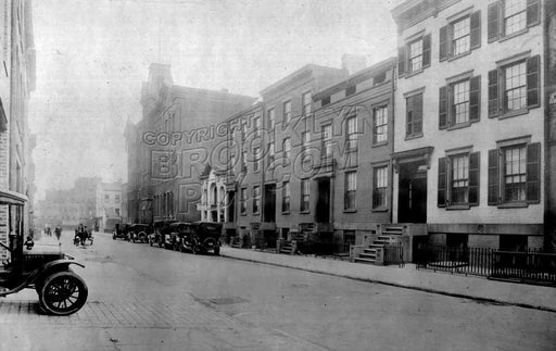 Pacific Street looking east from Clinton Street to Court Street, showing P.S. 78, 1918 Old Vintage Photos and Images