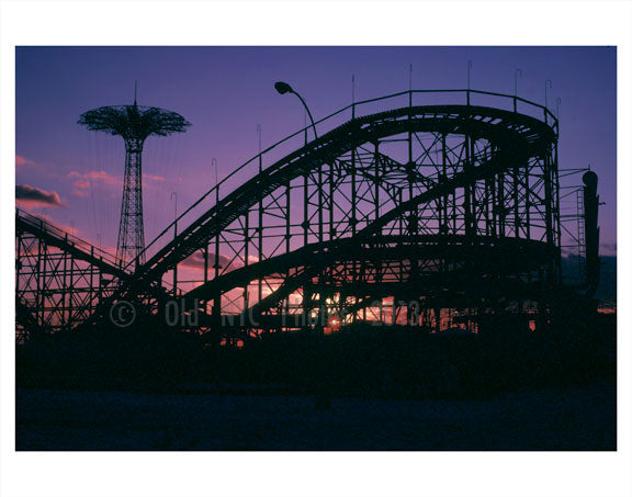 Parachute Jump & The Cyclone at sunset Old Vintage Photos and Images