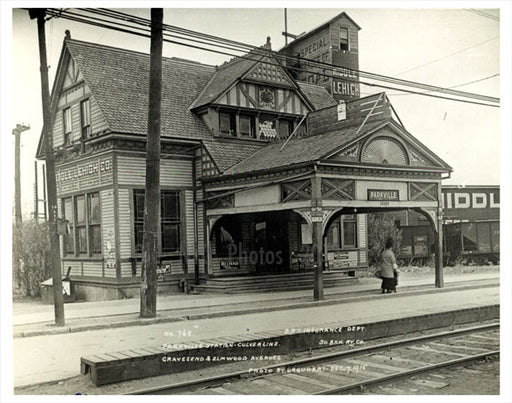 Parkville Station - Culiver Line - Gravesend & Elmwood Avenues 1915 Old Vintage Photos and Images