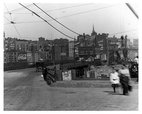People walking toward the 161st Street  Station  - Washington Heights -  Manhattan 1916 Old Vintage Photos and Images
